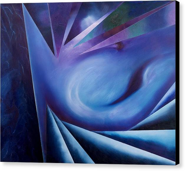 Abstract Geometry Canvas Print featuring the painting Contemplation Of The Cleft Between The Worlds by Ara Elena