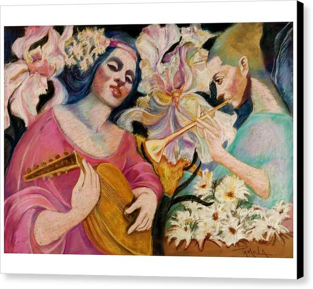Faries Playing Music In A Huge Garden Of Flowers Pastel Painting Fantasy Canvas Print featuring the pastel Farie Music by Pamela Mccabe
