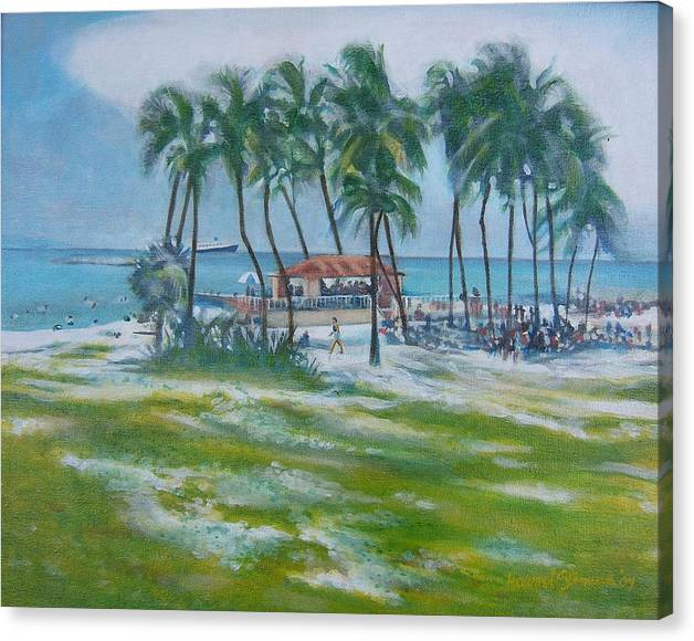 Beach Scene In The Bahamas Canvas Print featuring the painting Bahama Beach by Howard Stroman