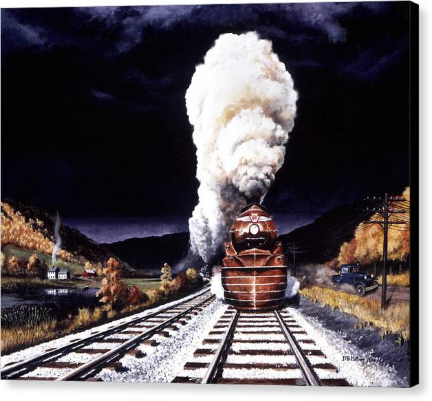 Train Canvas Print featuring the painting Racing The Storm by David Mittner