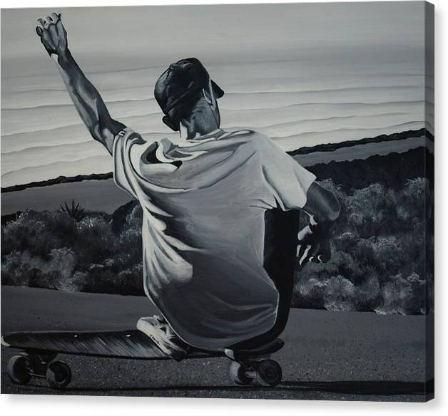 Skateboard Canvas Print featuring the painting Free Ride by Jessi Smith