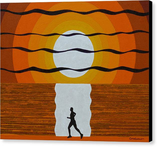 Jogger Canvas Print featuring the painting Sunrise Jogger by James Cordasco