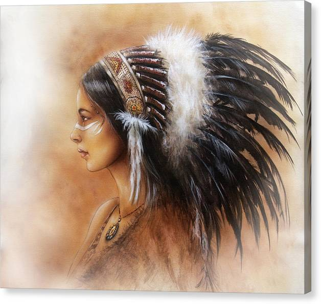 Young Indian Woman Wearing A Big Feather Headdress A Profile Portrait On Structured Abstract by Jozef Klopacka