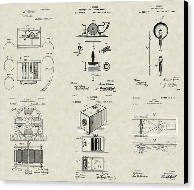 Famous Inventors Canvas Print featuring the drawing Inventors Patent Collection by PatentsAsArt