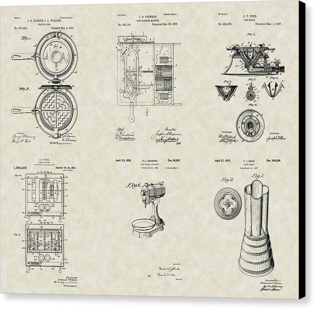 Kitchen Canvas Print featuring the drawing Kitchen Household Patent Collection by PatentsAsArt
