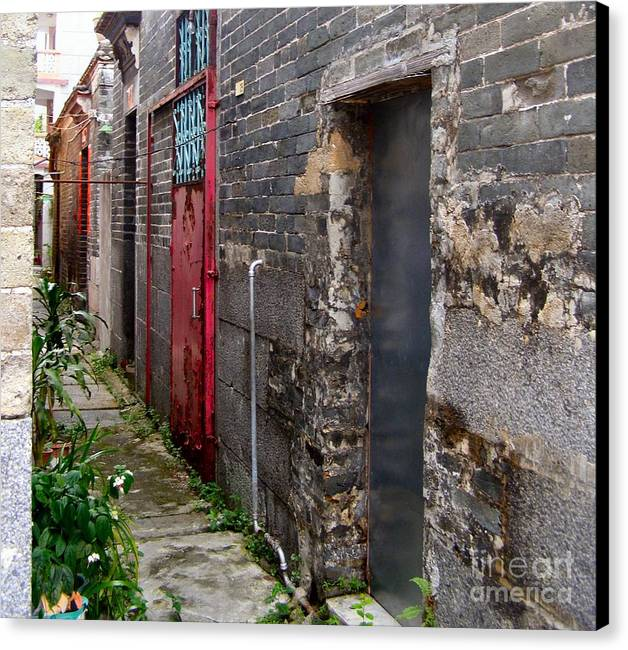Door Canvas Print featuring the photograph Old Chinese Village Narrow Walkway by Kathy Daxon