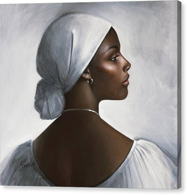 Jamaican Woman Canvas Print featuring the painting Lady In White by Samere Tansley