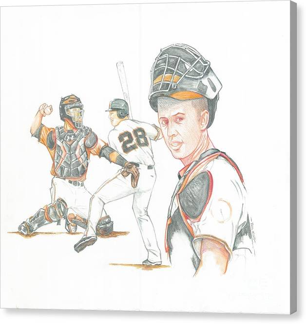 Sports Canvas Print featuring the painting The New Natural Buster Posey by Phil King
