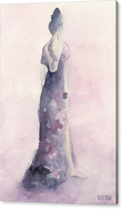 Purple and Pink Evening Dress Watecolor Fashion Illustration by Beverly Brown
