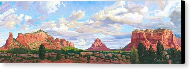 Skyline Canvas Print featuring the painting Village Of Oak Creek - Sedona by Steve Simon