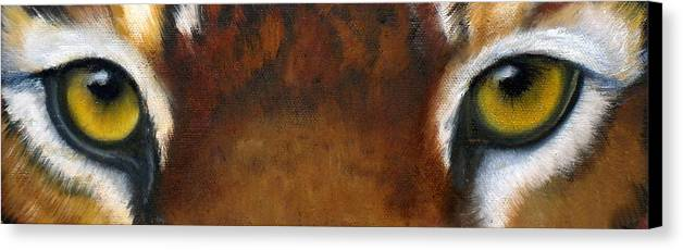 Tiger Eyes Canvas Print featuring the painting Whos Watching Who  Tiger by Darlene Green