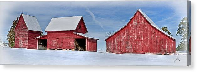 Smithfield Canvas Print featuring the photograph Red Barns In The Snow by Williams-Cairns Photography LLC