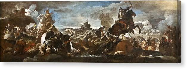 Luca Giordano Canvas Print featuring the painting Battle Of Saint-quentin by Luca Giordano