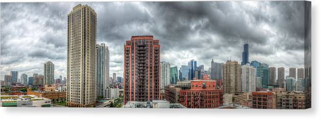 Architecture Canvas Print featuring the photograph Chicago Skyline - Sears Tower 6 Shot Panorama by Michael Bennett
