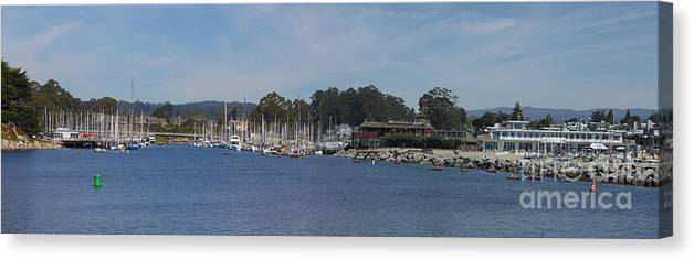 Panorama Canvas Print featuring the photograph pr 204- Santa Cruz Harbor pano by Chris Berry