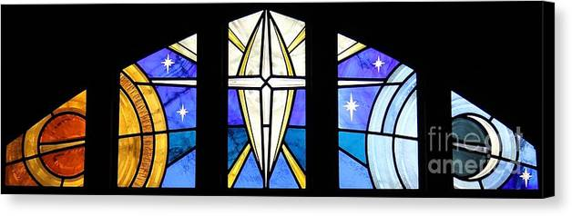 Stained Glass Canvas Print featuring the glass art Creation Of The Stars by Gilroy Stained Glass