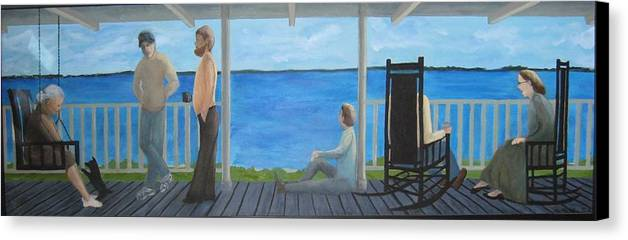 Seascape Canvas Print featuring the painting Porch People by Sheryl Sutherland