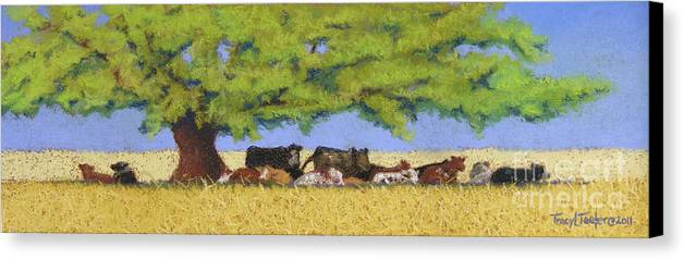 Cows Canvas Print featuring the pastel 100 Degrees Plus by Tracy L Teeter