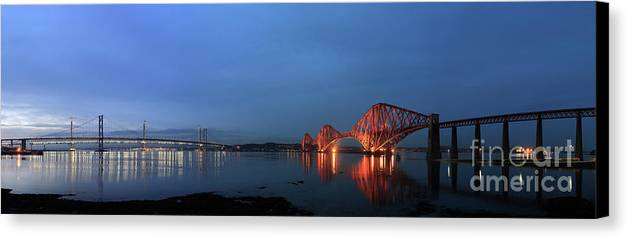 Firth Of Forth Railway Bridge Canvas Print featuring the photograph Firth Of Forth Bridges At Twilight - Panorama by Maria Gaellman