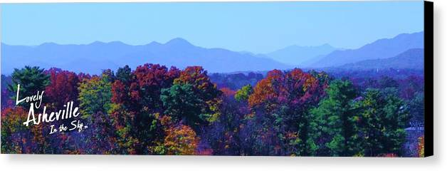 Asheville Nc North Carolina Biltmore House And Gardens Largest House In America Blue Ridge Mountains Grove Park Inn Tourist Tourists Vacation Bed And Breakfast Attractions Music Art Culture Bele Chere Goombay River Arts District French Broad River National Park Parks President Barack Obama First Lady Michelle Wilbur Ray Mapp Fall Leaves Range Christmas Xmas Holiday Holidays New Year Canvas Print featuring the photograph Lovely Asheville Fall Mountains by Ray Mapp