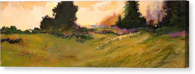 Landscape Canvas Print featuring the painting Evening Meadow by Dale Witherow