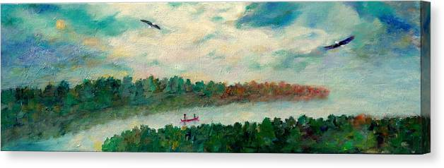 Canoeing On The Big Canadian Lakes Canvas Print featuring the painting Exploring Our Lake by Naomi Gerrard