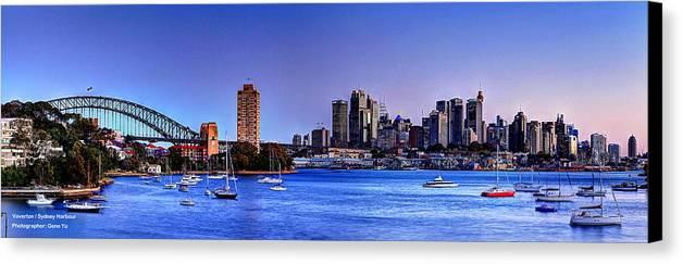Sydney Harbour Bridge Canvas Print featuring the photograph Waverton Sydney by Gene Yu