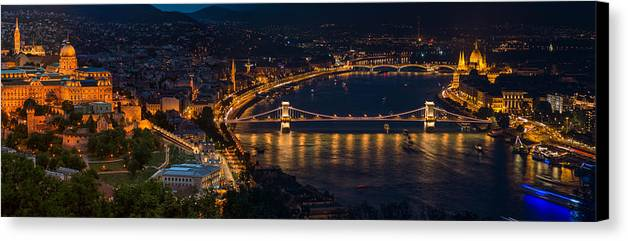 Budapest Canvas Print featuring the photograph Budapest by Zoltan Vegh