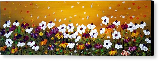 Flowers Canvas Print featuring the painting Flowers In The Sunset by Luiza Vizoli