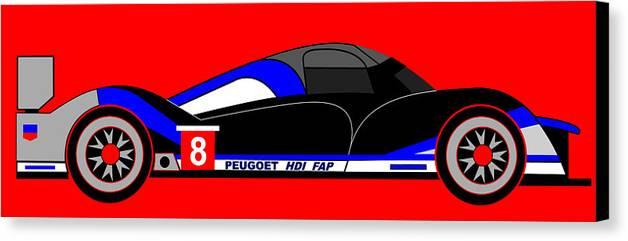 Peugeot 908 Canvas Print featuring the digital art Peugeot 908 Hdi Sat - No. 8 by Asbjorn Lonvig