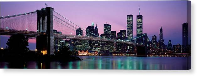 Photography Canvas Print featuring the photograph Brooklyn Bridge New York Ny Usa by Panoramic Images