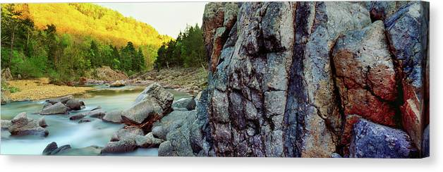 Photography Canvas Print featuring the photograph River Flowing Through Rocks, Black by Panoramic Images