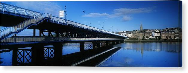 Bridge Canvas Print featuring the photograph Bridge Across A River, Double-decker by The Irish Image Collection