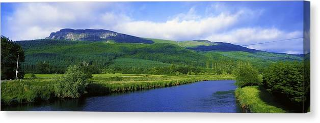 Calm Canvas Print featuring the photograph River Roe, Binevenagh, Co Derry by The Irish Image Collection