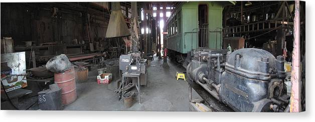 California Landscape Art Canvas Print featuring the photograph Railroad Shop by Larry Darnell