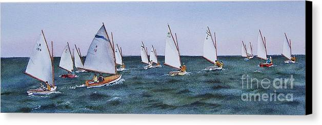 Sailboats Canvas Print featuring the painting Beetlecat Race by Karol Wyckoff