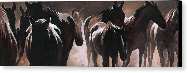 Herd Of Horses Canvas Print featuring the painting Herd Of Horses by Natasha Denger