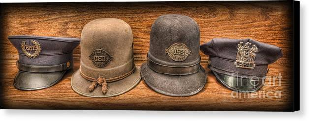 Police Canvas Print featuring the photograph Police Officer - Vintage Police Hats by Lee Dos Santos