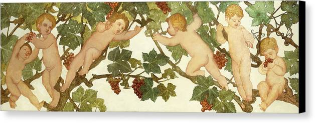 Irish Canvas Print featuring the painting Putti Frolicking In A Vineyard by Phoebe Anna Traquair