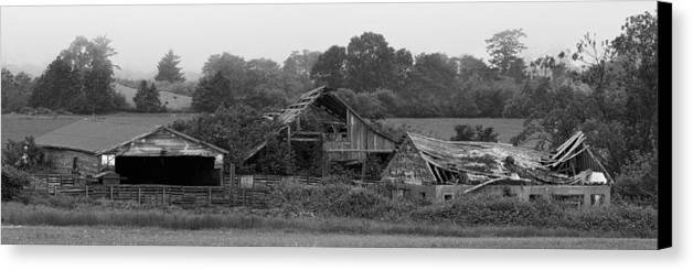 Barn Canvas Print featuring the photograph Barely Holding On by Betty Depee