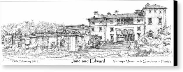 Vizcaya Canvas Print featuring the drawing Vizcaya For Jane And Edward by Building Art