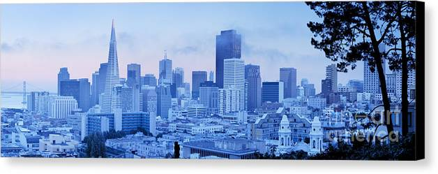 Architecture Canvas Print featuring the photograph Blue Mist, San Francisco by Justin Foulkes