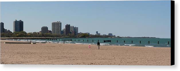 Vista Canvas Print featuring the photograph Chicago Beach Panorama by Gregory Jeffries