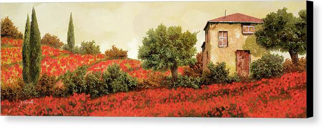 Poppy Canvas Print featuring the painting I Papaveri Sulla Collina by Guido Borelli