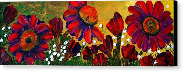 Flowers Canvas Print featuring the painting Red Garden by Luiza Vizoli