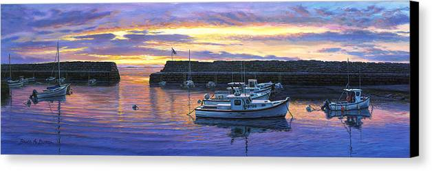 Marine Art Canvas Print featuring the painting Rockport Ma Sunset by Bruce Dumas