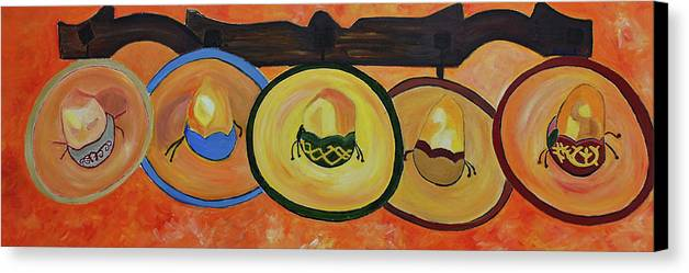 Still Life Canvas Print featuring the painting Sombreros by Dorota Nowak