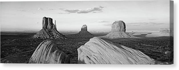 Photography Canvas Print featuring the photograph Sunset At Monument Valley, Monument by Panoramic Images