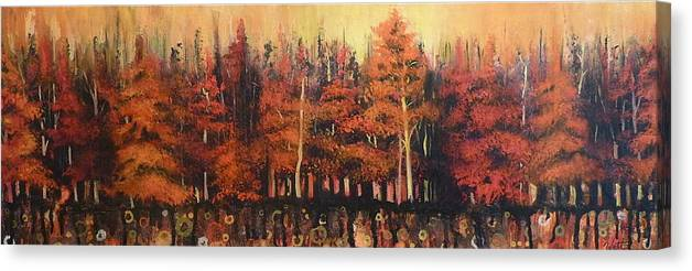 Landscapes Canvas Print featuring the painting Alberta Heat by Tammy Watt