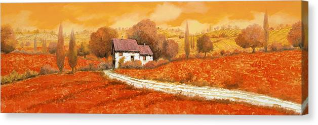 Tuscany Canvas Print featuring the painting Rosso Papavero by Guido Borelli